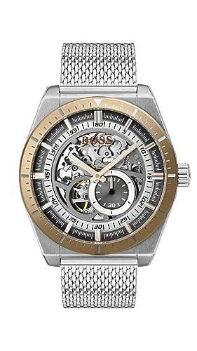 Hugo Boss Watch Reloj Esqueleto para Hombre de Automático con Correa en Acero Inoxidable 1513657: Amazon.es: Relojes