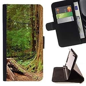 For Sony Xperia M4 Aqua Case , Planta Naturaleza Forrest Flor 110- la tarjeta de Crédito Slots PU Funda de cuero Monedero caso cubierta de piel