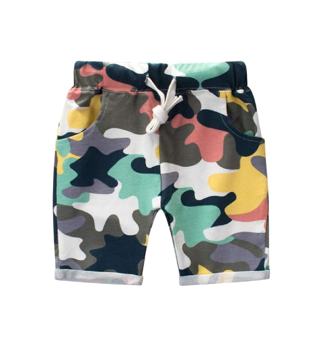 GLORYA Boys' Cotton Girls' Elastic Waist Camo Short White 2T