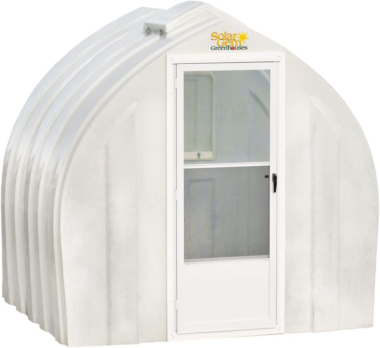 Solar Gem 8 x 7.5 Small, Fully Assembled, Heavy Duty, Walk-in Fiberglass Greenhouse