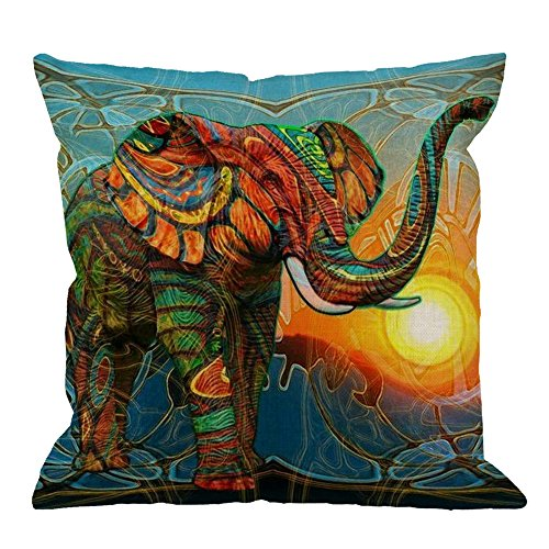 Elephant Pillow Case by HGOD DESIGNS Colorful Aztec Elephant Sunset Cotton Linen Square Cushion Cover Standard Pillowcase Home Decorative Sofa Armchair Bedroom Livingroom 18 x 18 inch