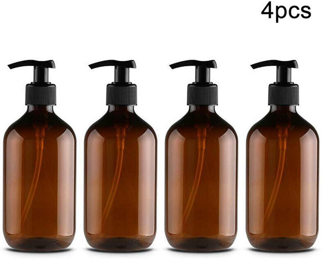 Kitchnexus Clasico 4PCS 500ML Botellas vacías de Gran Capacidad. Dispensador de loción, Shampoo, jabón. Accesorios de baño con dosificador a presión