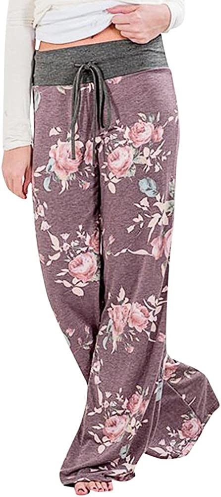 holitie Wide Leg Pants Women Floral Prints Drawstring Yoga Leggings Pajamas