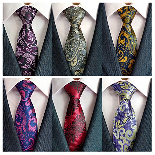 Adulove Mens Necktie Classic Silk Tie Woven Jacquard Neck Ties 6 PCS