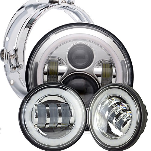TURBOSII Chrome 60W Daymaker Harley LED Headlight with 4.5 inch Matching Passing Fog Lamps for Harley Davidson Motorcycles with Mounting Bracket and Wire adapter by TURBOSII