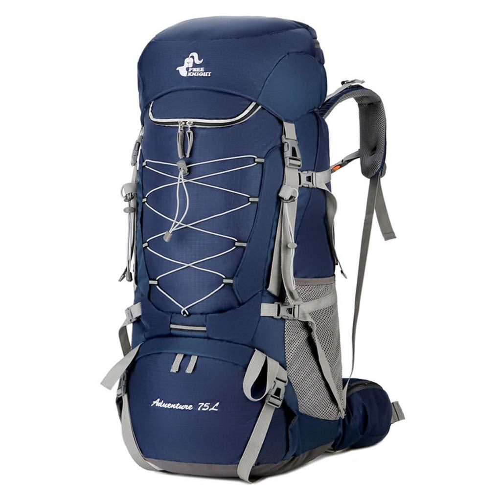 大容量登山バッグアウトドアスポーツバッグ防水ポリエステルハイキングハイキングキャンプ多機能バックパック付きレインカバー  blue B07RBK58Z4