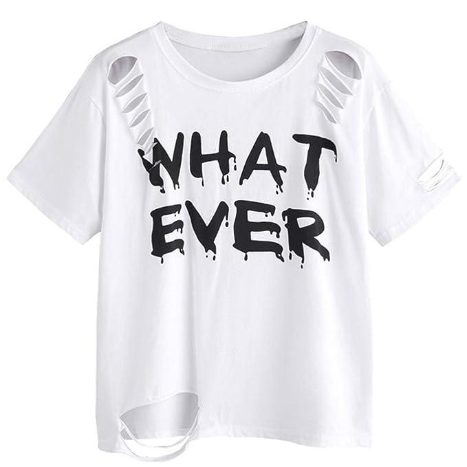WOCACHI Damen Sommer T-Shirts Mode Frauen Kurzarm T-Shirt  quot WHAT  EVER quot fc9abadcda