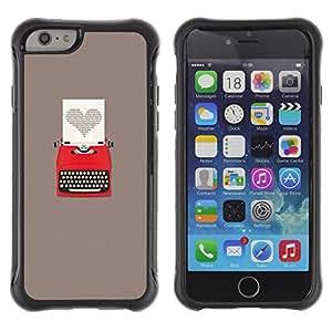 Híbridos estuche rígido plástico de protección con soporte para el Apple iPhone 6 (4.7) - heart writing love writer grey