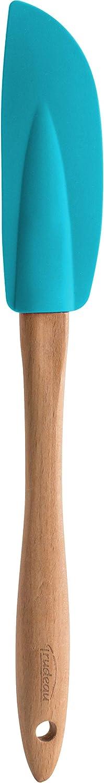 Trudeau Espátula de silicona para cocina, forma fina y larga para mayor alcance, con mango de madera de haya. Color azul, total 34cm de largo. Soporta el calor hasta 220ºC. Apto para lavavajillas