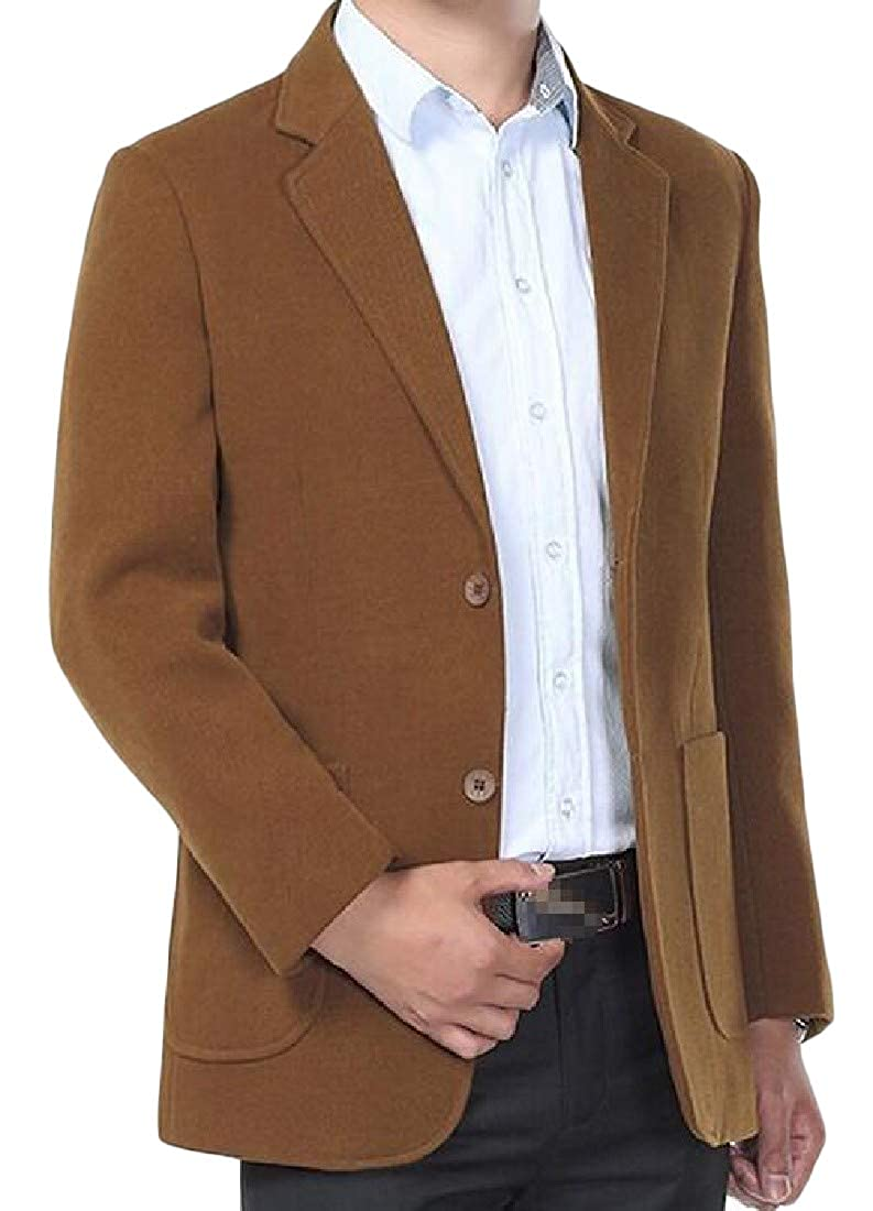 Macondoo Mens Coat Thicken Solid Wool Blend Business Blazer Jackets