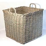 Fireside Log Basket Grey Extra Large XL Square Wicker Rattan Wood Storage