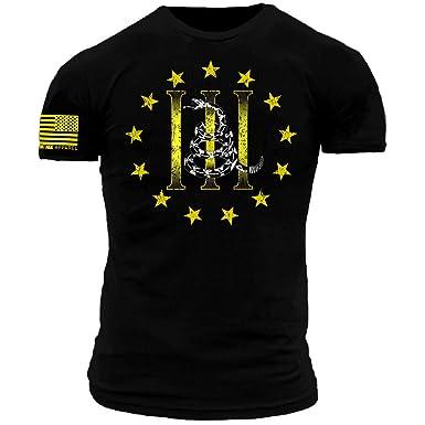 6399d286 Three Percenter Gadsden Snake Black Yellow Premium Athletic Fit T-Shirt (XL)