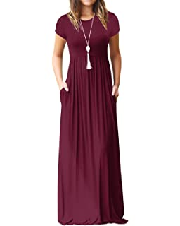 7100fb48723 Kidsform Women s Maxi Dress Short Sleeve Loose Plain Solid Casual Long  Dresses Kaftan with Pockets