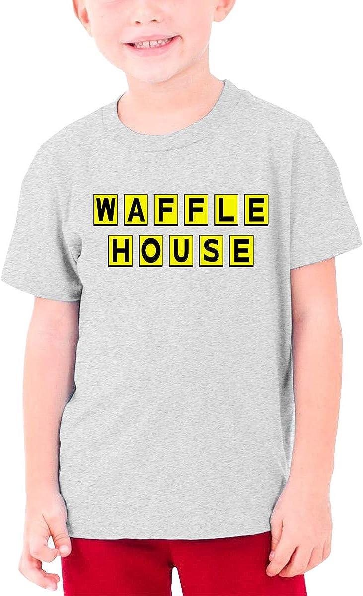 Jaxia Waffle House KidsCotton Youth Crewneck T-Shirt,Boys and Girls,White