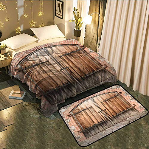 """Indoor Modern Blanket mat Combination Wooden Door of a Stone House with Wrought Iron Elements Tuscany Architecture Photo Modern Fashion Super Soft Blanket 50""""x60""""/Mat 24""""x21"""""""
