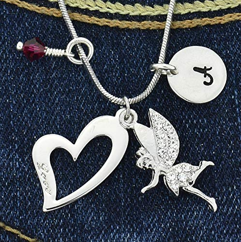 (Tinkerbell Fairy Heart Custom Pendant Sparkling Crystals Personalized Necklace Hand Stamped Initial Letter and Birthstone Charms Chain Gift Jewelry)