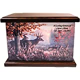 Cremation Urn, Wood funeral Urn, Hunter's Urn, Elk, Deer Hunting Wooden Urn with Engraving