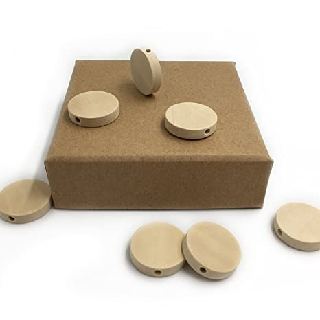Coskiss 50pcs Natural Flat 20mm (0.79)  Madera Perlas Redondas Madera Teether Inacabado DIY Accesorios Madera Chips Círculos Madera Discos Baby Toys ...