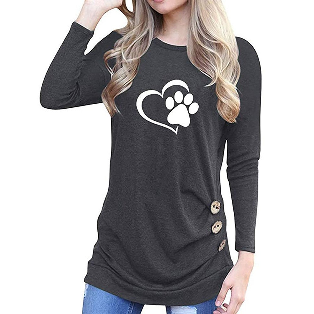 STORTO Women O-Neck Bear Paw Love Appliques Tops Long Sleeve Loose Button T-Shirt Blouse Black
