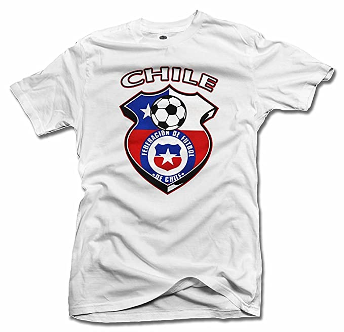 Chile Shield blanco futbol camiseta hombres de la T (6.1oz)