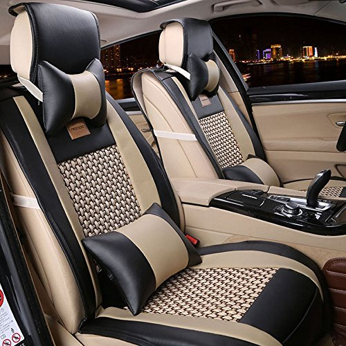 (FREESOO Car Seat Covers Full Set, PU Leather Car Seat Covers for 5 Seats Vehicle Suitable for Year Round Use(Black))