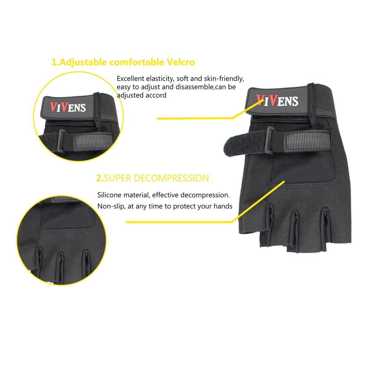 VIVENS Ultraleicht Fitness Handschuhe Trainingshandschuhe mit Adjustable Handgelenkst/ütze und Safe Geleinlage Silikon Palm f/ür Krafttraining Gewichtheben und Bodybuilding Damen Herren