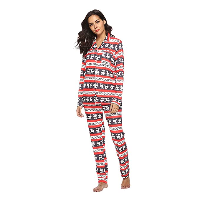 youthny womens christmas pajama sets lounge wear pjs super soft pyjamas elk loose long sleeve home - Womens Christmas Nightgowns