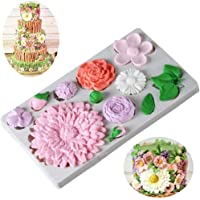 Flower and Leaf Fondant Mold for Cake Decoration,Chrysanthemum,Roses Silicone Candy Mold,Cupcake Topper,Polymer Clay,Crafting,Chocolate,Resin Sugarcraft Mold