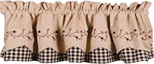 Primitive Home Decors Star Berry Vine Check Fairfield Valance - Black