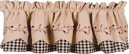 Primitive Home Decors Star Berry Vine Check Fairfield Valance – Black