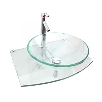 Halo Clear Tempered Glass Vessel Sink Complete Set With Chrome