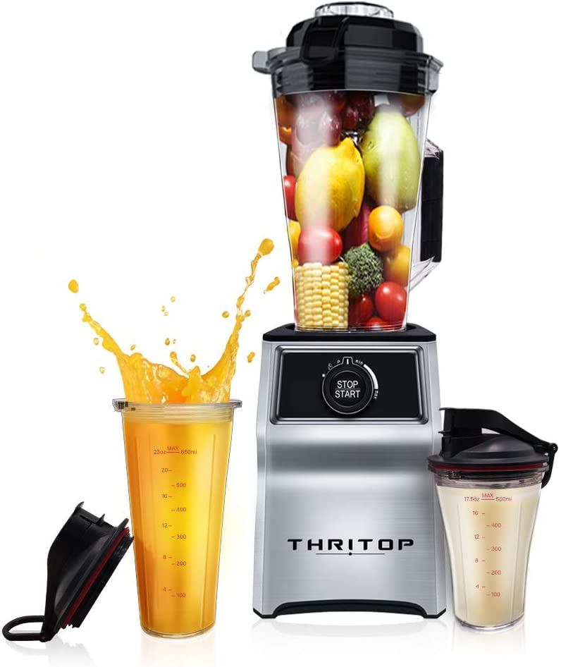 THRITOP Professional Countertop Power Blender,1000-W 50oz and 2 Portable Bottles for Frozen Drinks and Smoothies £¬Advanced Janpanese Technology Chop, Grind, Blend, Emulsify