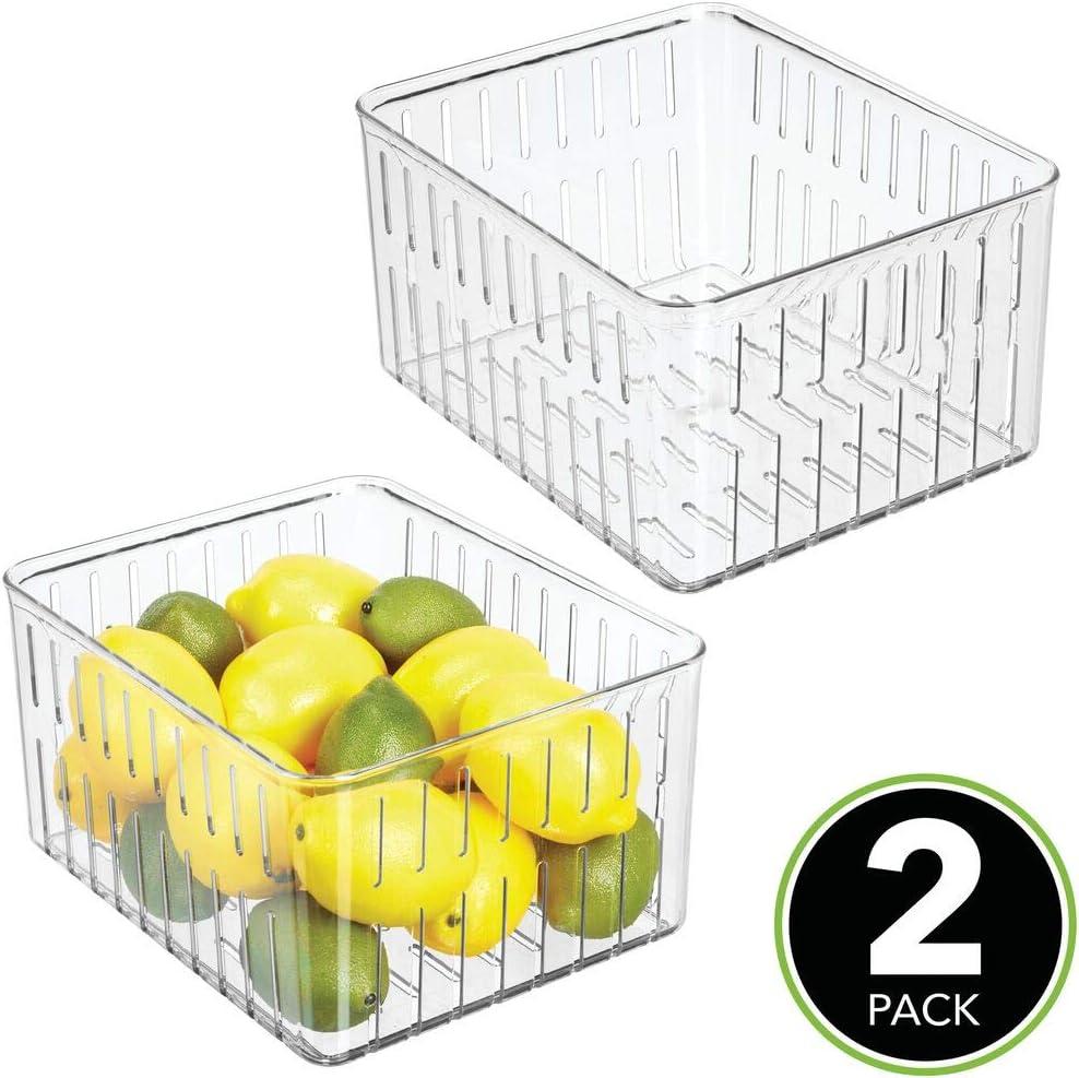 nueces o botellas Organizador de cocina abierto en madera de bamb/ú mDesign Juego de 2 cajas organizadoras con asas especias marr/ón Pr/áctico caj/ón de madera para almacenar alimentos
