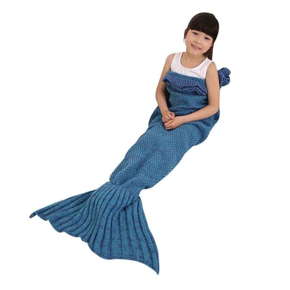 TWH Decke in Form eines Meerjungsfrauenschwanzes, handgefertigt, Strick, für Kinder, Blau
