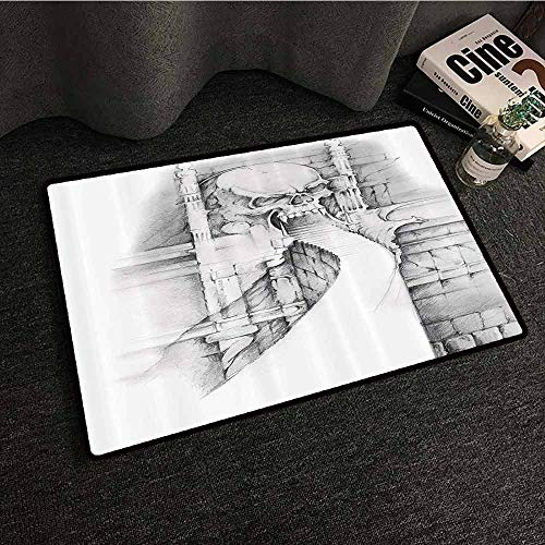 - Tattoo Decor Welcome Door mat Angel Playing The Violins Over Vintage Paper Sculpture Style Silhouette of Man Super Absorbent mud W31 xL47 Sepia Grey