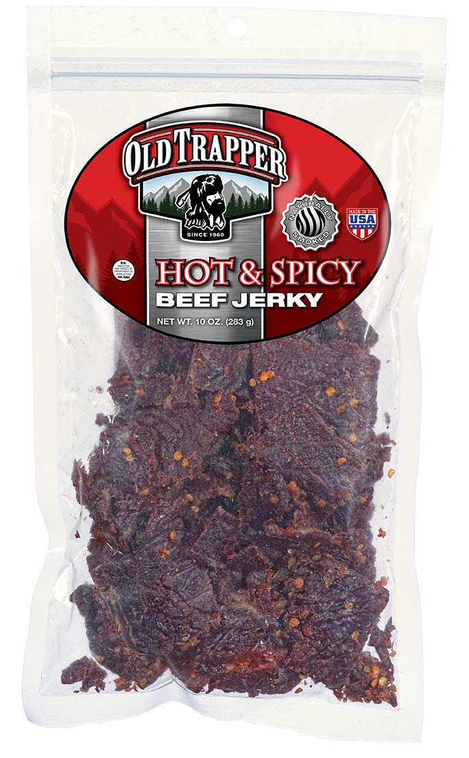Old Trapper Hot & Spicy Beef Jerky | Traditional Style Real Wood Smoked | Healthy Snack Made from 100% Top Round Steaks | 10 Ounce Bag