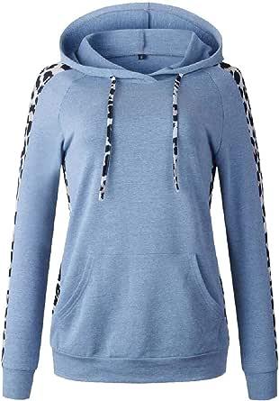 Women's Hoodies Top Casual Long Sleeve Leopard Printed Pocket Drawstring Sweatshirt Outwear