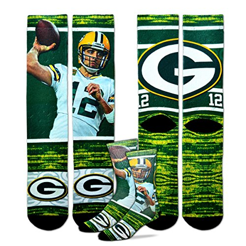 For Bare Feet Green Bay Packers Aaron Rodgers NFL Drive Socks, Large