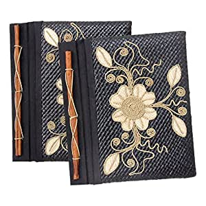 """NOVICA Floral Natural Fiber and Rice Straw Paper Journals 8.5"""" x 7.25"""", Black, 'Floral Pride' (Set of 2)"""