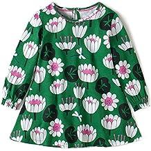 Fiream Girls Cotton Casual Longsleeve Cartoon Dresses