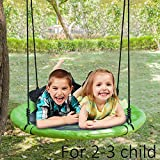 JOYMOR 32 Inch Diameter Round Oxford Detachable Swing with Adjustable Tree Rope,Great for Tree, Swing Set, Backyard, Playground, Playroom(Green)