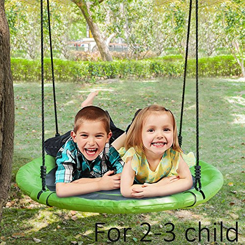 JOYMOR 32 Inch Diameter Round Oxford Detachable Swing with Adjustable Tree Rope,Great for Tree, Swing Set, Backyard, Playground, Playroom(Green) by JOYMOR