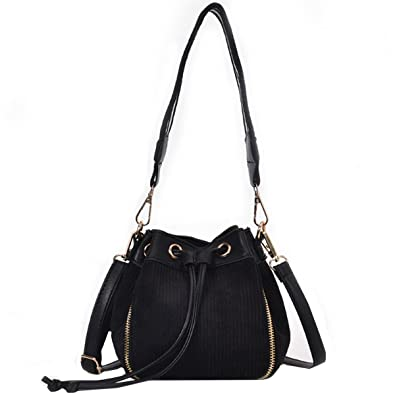 f7817be92087 LABANCA Womens Small Bucket Purse Corduroy Wide Strap Shoulder Bags  Crossbody Bag with Drawstring Black