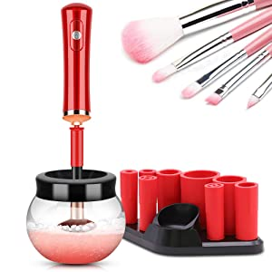 Makeup Brush Cleaner Dryer, Makeup Brush Cleaner Machine with 8 Rubber Collars, Wash and Dry in Seconds, Deep Cosmetic Brush Spinner for All Size Brushes - Red