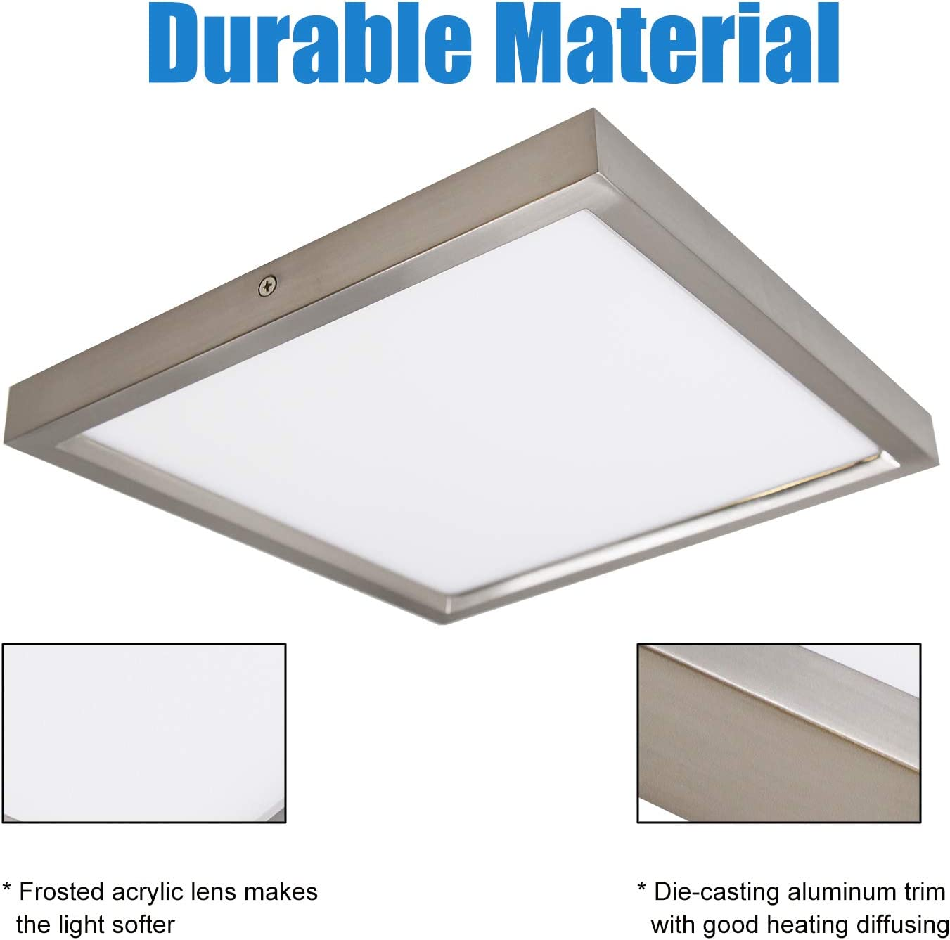 Amazon Com Mingbright 13 Inch Led Die Casting Square Flush Mount Ceiling Light Fixture Damp Location 20w 3000k Warm White Dimmable Home Improvement