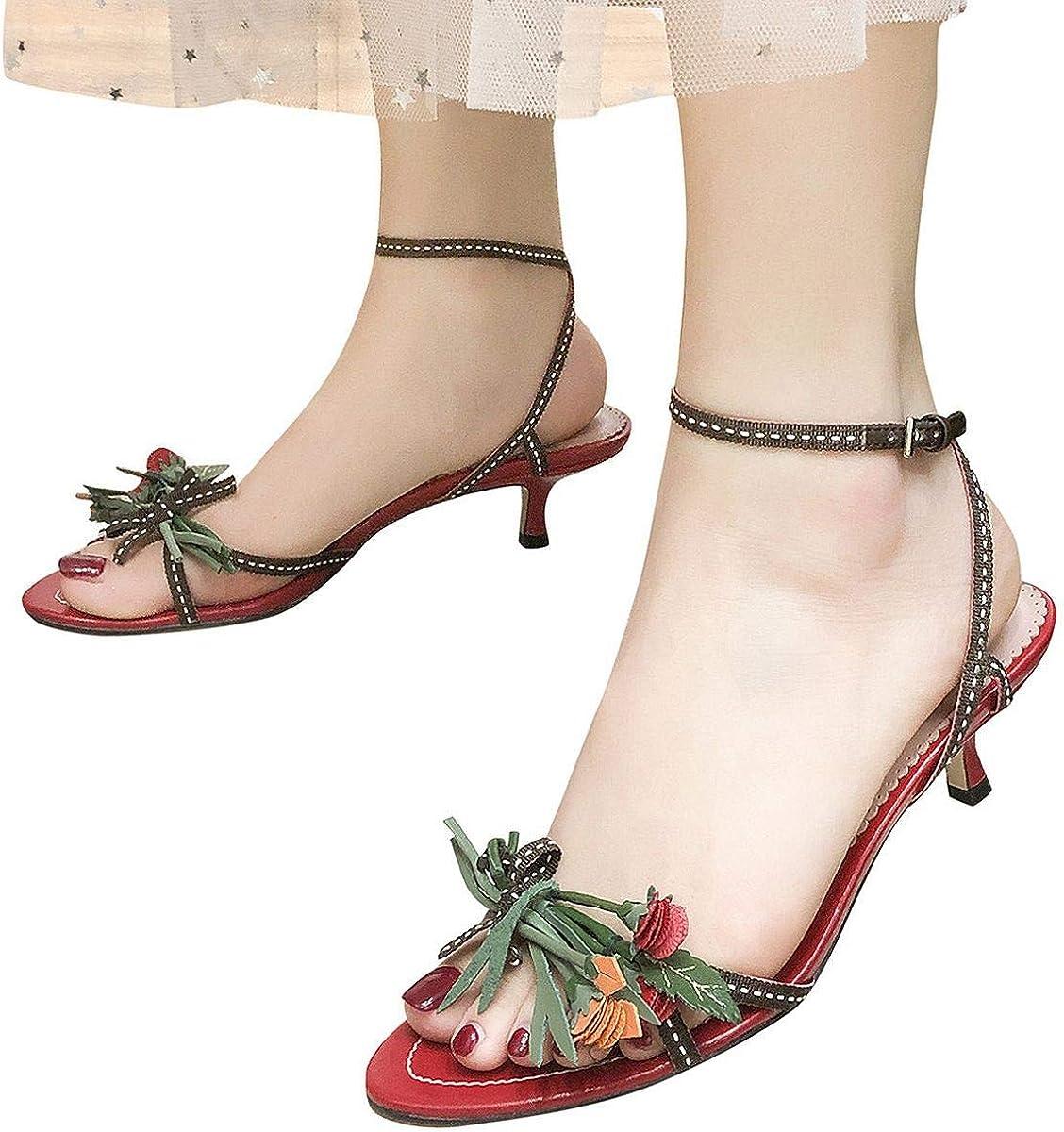 Womens Fringe Open Toe High Heel Sandals Tassels Slingback Shoes Heeled Sandals