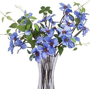 FENGRUIL 4PCS Artificial Dogwood Flowers Silk Flowers Dogwood Blossom Fake Cornus Wedding Flower Bouquet for Home Crafts Office Decoration (Blue)