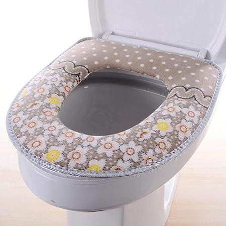 Impression En Flanelle Abattant WC Coussin Doux Type De Velcro Fixe Siege De Toilette Set Couleur Unie Housses Dabattants WC Coussin,Blue-OneSize