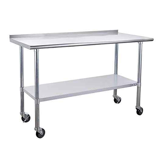 Stainless Steel Table for Prep /& Work 24 x 30 Inches Home and Hotel NSF Commercial Heavy Duty Table with Undershelf and Backsplash for Restaurant