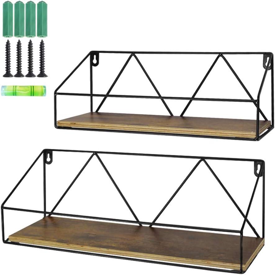 PETAFLOP Wall Mount Shelf Rustic Wood Folating Storage Shelves for Kitchen Living Room Bathroom, Set of 2